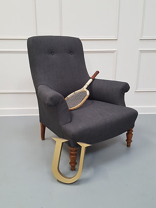 French Charcoal Grey Antique Armchair C1900
