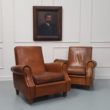 Stylish Pair of French Leather Armchairs c1950