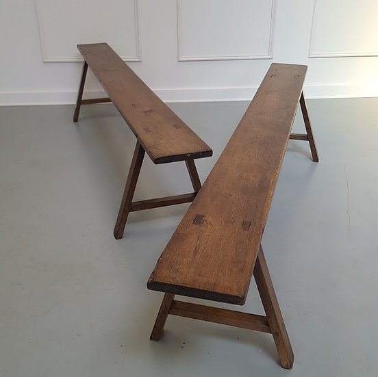 Sturdy French Oak Benches c1850