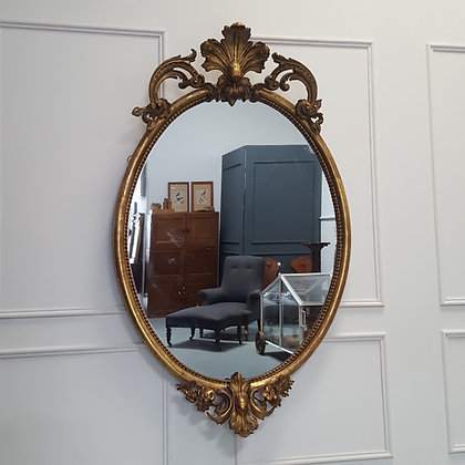 Huge Antique Gilded French Oval Mirror