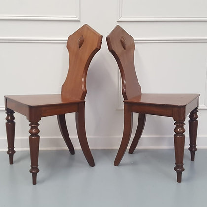 Pair of Engraved Hall Chairs C1850