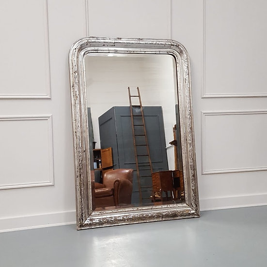 Antique Large French Silver Mirror C1880