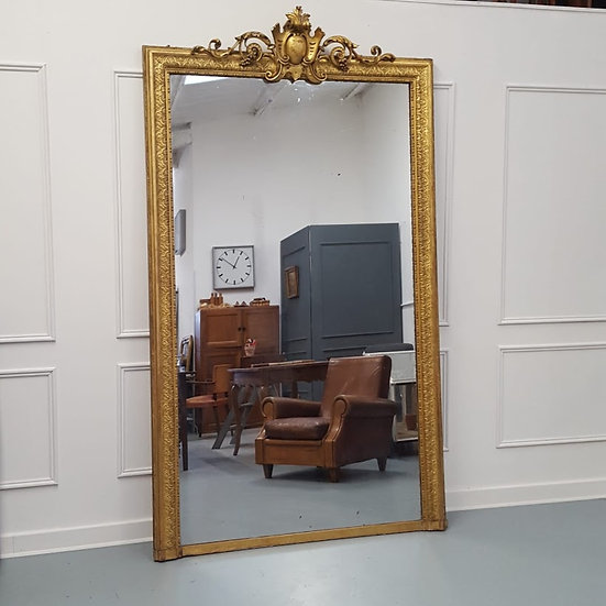 Very Large Stunning Antique Gilded French Mirror