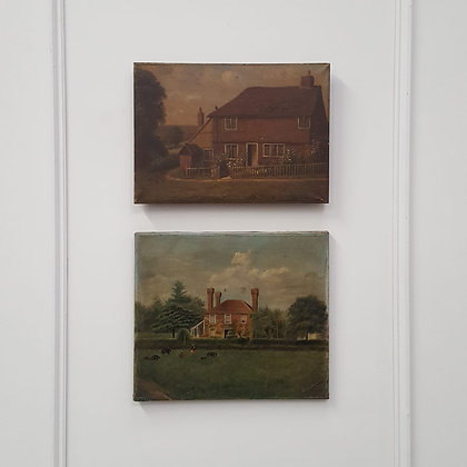 Pair of Primitive Antique Oil Paintings of Houses