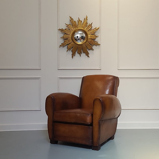 Vintage French Leather Club Chair c1930