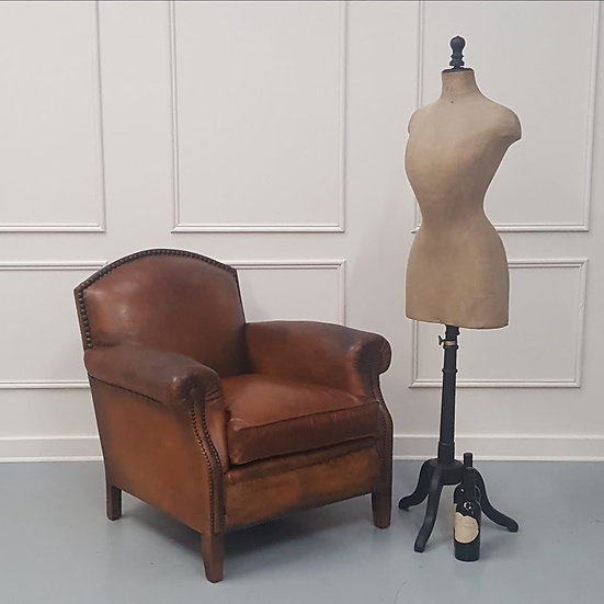 Large French Leather Club Library Armchair C1920