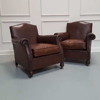 Beautiful Pair of French Leather Club Armchairs C1930