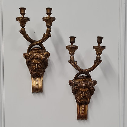 Beautiful Wooden Gilded Wall Lights c1850