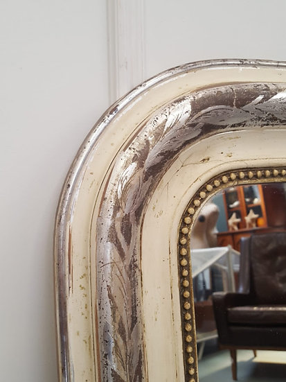 Silver and White French Antique Mirror c1880