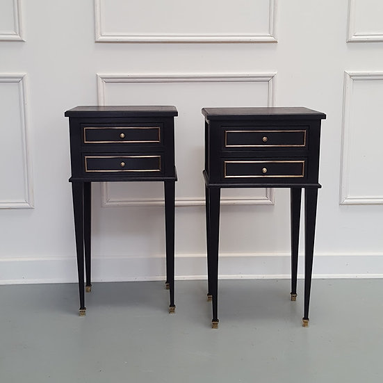 Pair of Ebonised French Bedside Cabinets c1930