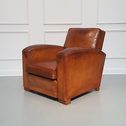 Deco 1930s French Leather Club Chair