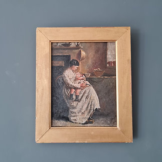 Antique Painting of Mother and Child