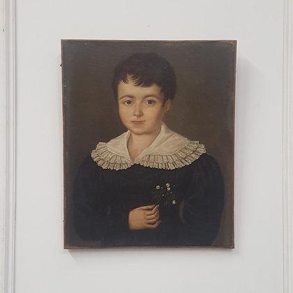 Antique Oil Portrait of Boy C1820