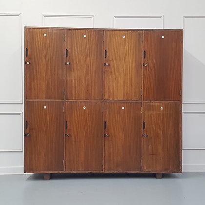 Vintage Wooden School Gym Lockers C1950
