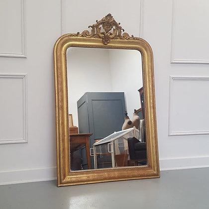 Antique French Gilded Crest Mirror C1880