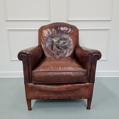 Antique Small Leather Library Chair