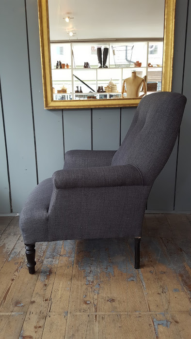 French Charcoal Grey Armchair C1910