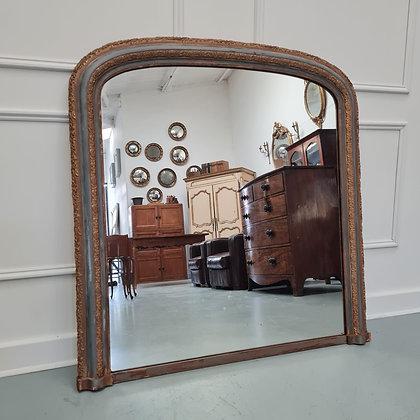 Unusual Antique Overmantle English Mirror
