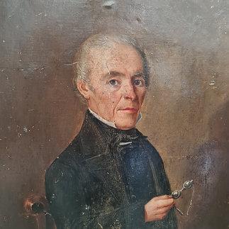 Naive French Oil Portrait 1858