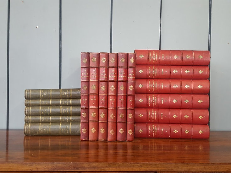 Decorative Run of Fine Leather Bound French Books