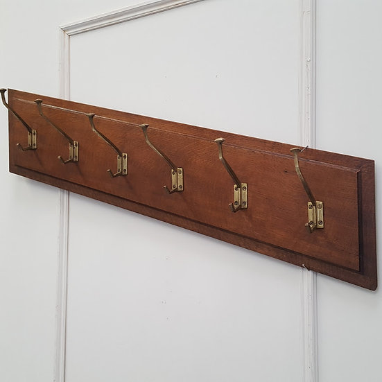 Diagonal 1930s Oak and Brass Coat Hooks