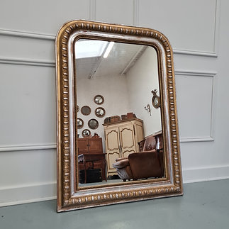 Antique French Gold and Silver Gilded Mirror