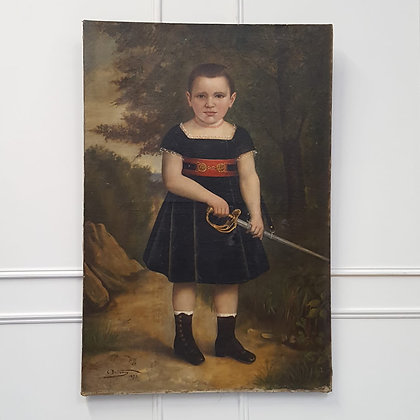 Large Striking Oil Painting of Boy with Sword