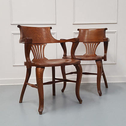 Handsome Solid Oak Captain Chairs