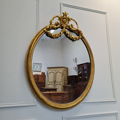 Antique Gilded Oval Mirror c1870