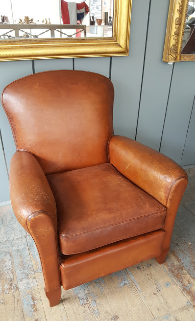 This French Leather Club Chair Was Made In C1920. It Is In Good Condition.  Great Conker Colour.