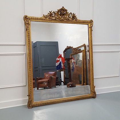 Antique French Quality Wide Gilded Mirror C1860