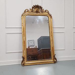 Beautiful French Gilded Scallop Mirror c1850
