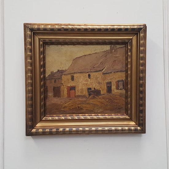 Antique Belgian Oil Painting c1890