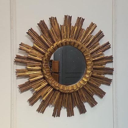 1950s French  Wooden Sunburst Mirror