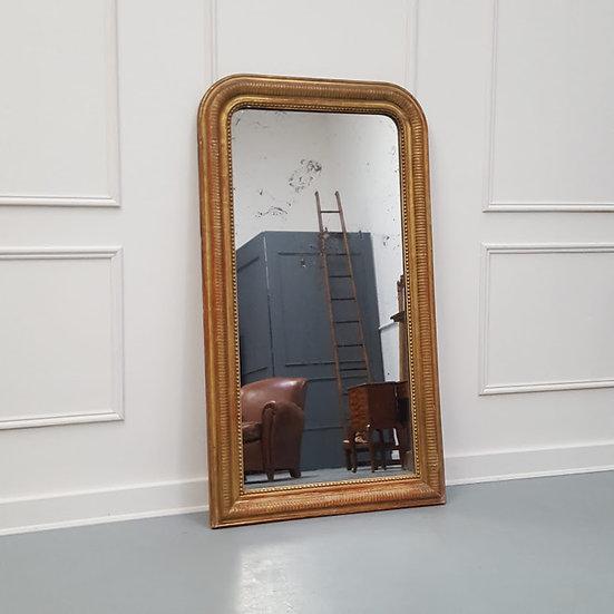 Antique French Hatched Design Mirror C1890