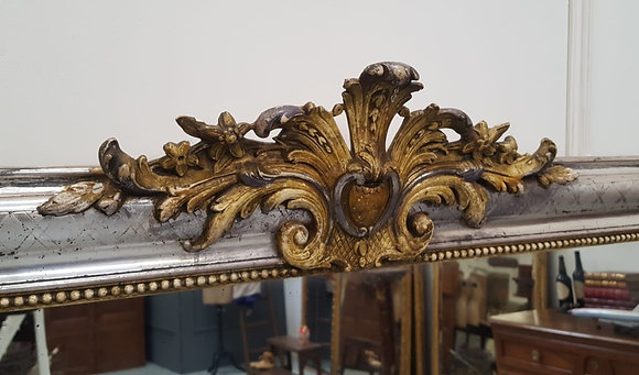 Beautiful Large Silver Antique French Mirror C1880
