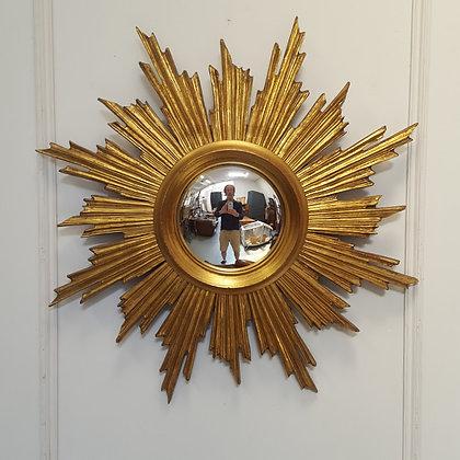 French Wooden Sunburst Mirror C1950