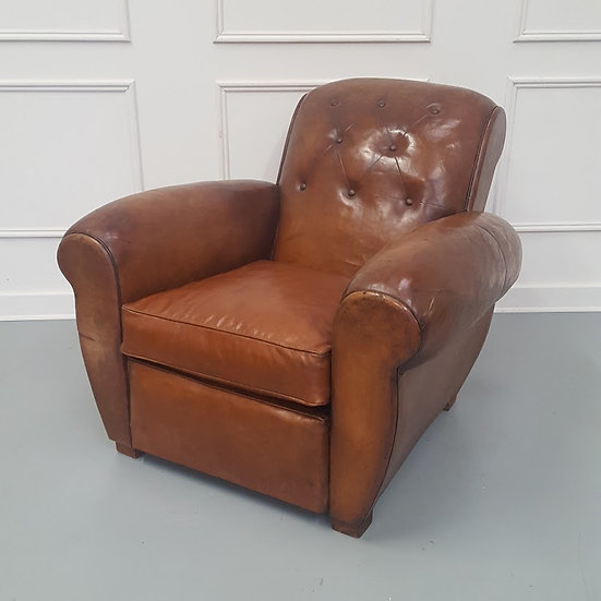 Large French Buttoned Leather Club Chair C1930