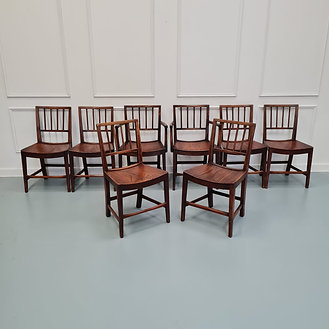 Rare Early Set of Elm Country Dining Chairs c1810