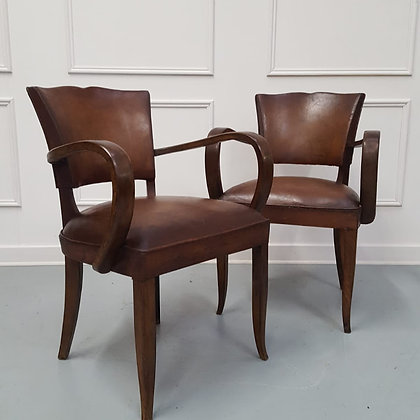French Vintage Leather Desk Chairs
