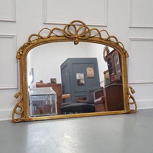 Beautiful Gilded English Overmantle Mirror C1870