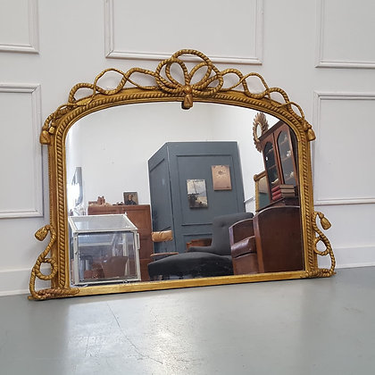 Beautiful Gilded English Overmantle Mirror C1870
