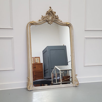 Antique French Grey Painted Mirror c1890