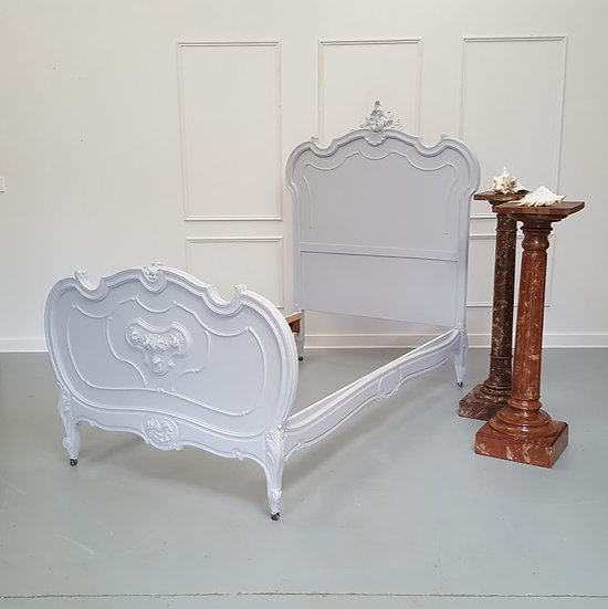 Antique Grey French Single Bed c1880