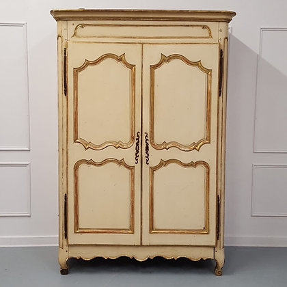 Early French Original Painted Armoire