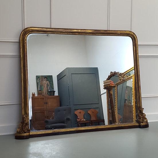 Antique Large English Overmantle Mirror C1850