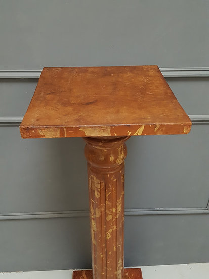 Antique Wooden Painted Marble Effect Fluted Bust Stand c1880