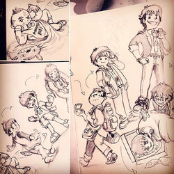 Breaking in my new #sketchbook by doodling myself through the ages~ -_There's a fun story for each o