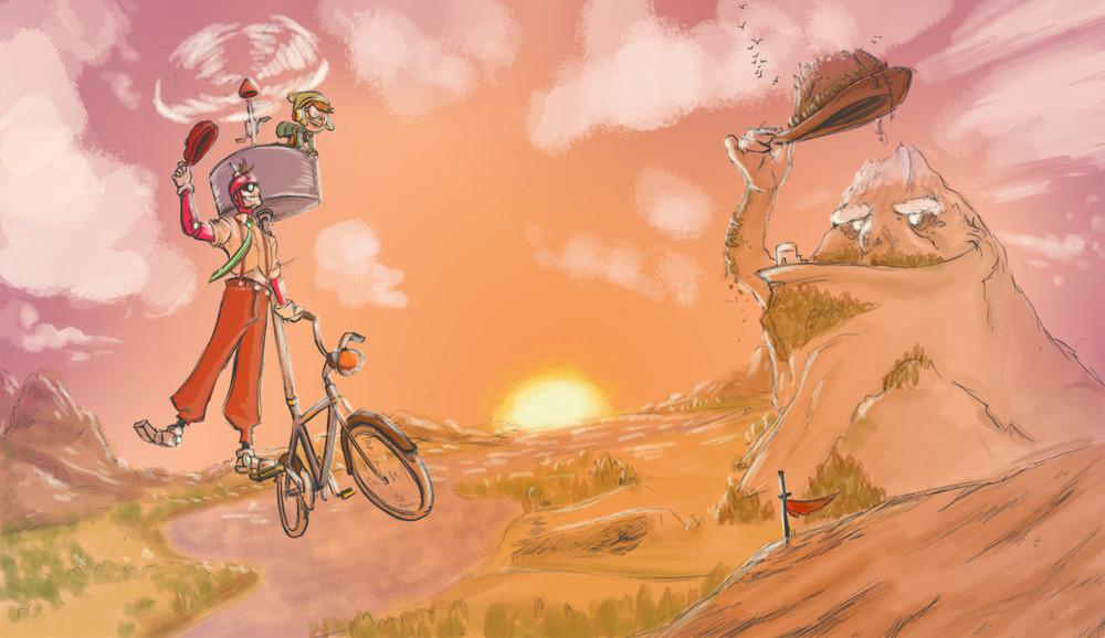 Biking with Big Bro-Bot by Stephan Valeros