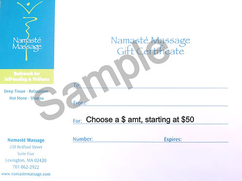 Gift Certificate for a $Amt, From $50